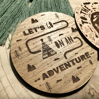 'Let's Go On An Adventure' Wooden Disc Flat Lay Nursery Decoration Kid Baby Prop
