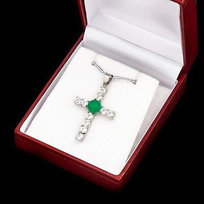 Antique Vintage Deco Style White Gold Plated Jadeite CZ Cross Necklace Pendant