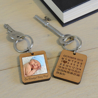 Personalised Cherry Wood Photo Special Date Key Ring Engraved Gift Fob Keyring