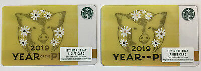 Two Starbucks Gift Cards- Chinese New Year 2019 - Year Of The Pig -  Print Mark