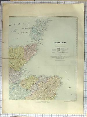 Original Old Antique Print Stanford Map C1870 North East Scotland Orkney 19th