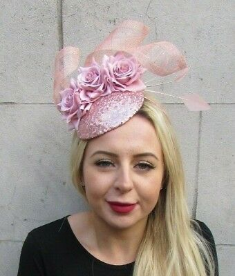 Rose Gold Blush Nude Dusky Pink Flower Feather Hat Hair Fascinator Races 6950
