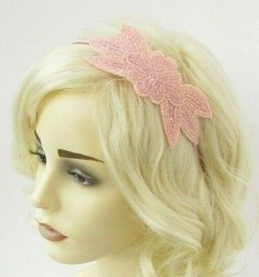 Blush Dusky Light Pink Beaded Fascinator Headband 1920s Gatsby Flapper Vtg 6951