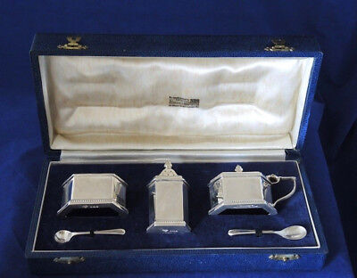 H/M 19 UNUSED CASED CONDIMENT SET SALT MUSTARD PEPPER LINERS 2 SPOONS G&S Co #4