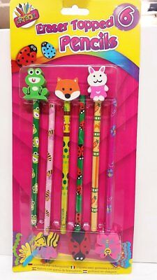"Kids ARTBOX ""Animal"" Dino Pencils with 6 Eraser Tops, Plastic, Assorted Colour"