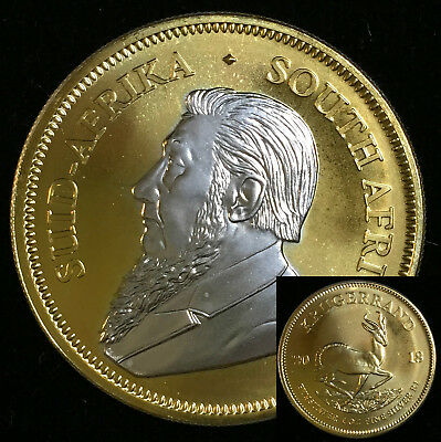 2018 1 OZ Silver Ounce South Africa Krugerrand 24KT Gold STUNNING +Clear Capsule