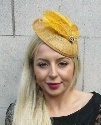 Gold Mustard Yellow Feather Flower Disc Saucer Hat Fascinator Hair Races 6965