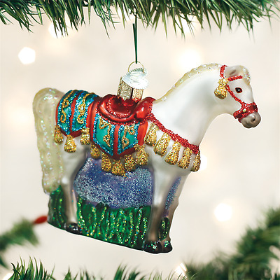 HORSE IN STALL OLD WORLD CHRISTMAS GLASS EQUINE BARN FARM ORNAMENT NWT 12288