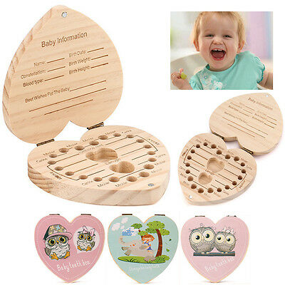 Boy Girl Kids Tooth Box Organizer For Baby Save Milk Teeth Wood Storage Box Hot