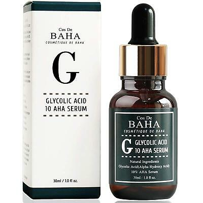Cos De BAHA Glycolic Acid 10% AHA Facial Serum Peeling Acne Whitehead Pimple