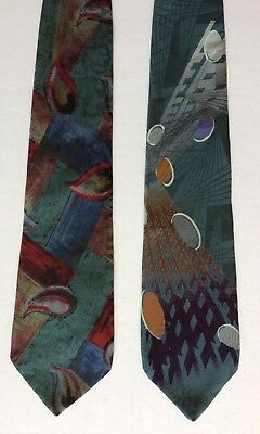 Vintage~Lot of 2~ZYLOS GEORGE MACHADO 100% Silk Necktie~Geometric Gray/Black USA