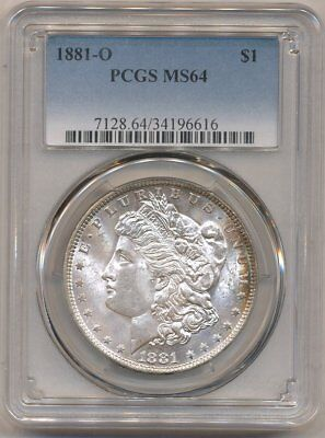 1881-O Morgan PCGS MS-64 Uncirculated Lovely Silver Dollar Coin New Orleans Mint