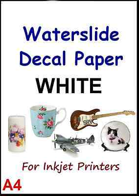 """CLEAR & WHITE A4 INKJET WATER SLIDE DECAL PAPER pack of 5 pcs 8.3"""" x 11.7"""" #5"""
