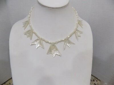 Antique Vintage Carved Mother of Pearl MOP Pendant Beaded Necklace Sterling 925