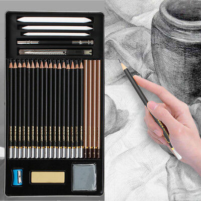 29-Piece Sketch / Draw Pencil Set with Tools, Erasers for Drawing Sketching