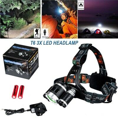 12000LM T6 3x CREE LED Headlamp Head Light Torch Lamp Rechargeable Flashlight UK