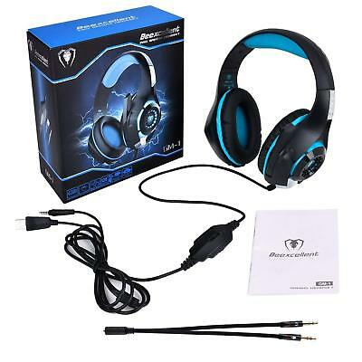 Cuffie da Gioco PC PS4 xBox Gaming Headset Beexcellent GM-1 LED BLU  Microfono