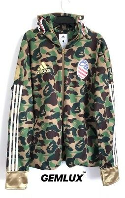 BAPE X ADIDAS A BATHING APE SHARK HOODIE Green Camouflage TRACK TOPS SIZE XL