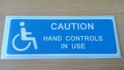 Caution Hand Controls In Use Vinyl Decal/Sticker