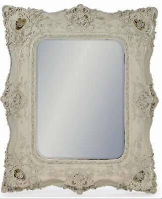 Antiqued White Classical Square Mirror.  Free Delivery