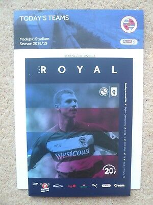 18/19 - READING v ASTON VILLA (WITH OFFICIAL TEAM SHEET) - CHAMPIONSHIP - MINT