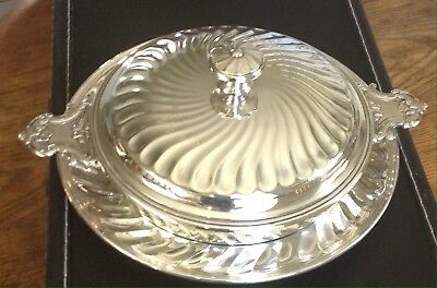 Christofle Silver Plated Lidded Vegetable Tureen Serving Dish with Under Tray