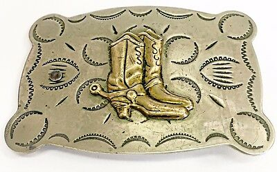 Vintage Justin Belt Co. Nickel Silver Belt Buckle