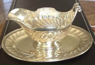 Christofle Silver Plated Sauce or Gravy Boat with Removable Under Tray