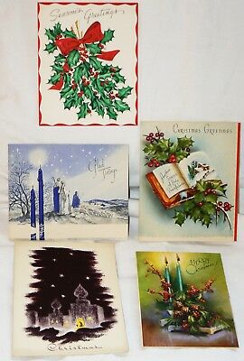 Lot Of 5 Vintage Religious Christmas Greeting Cards 1940s