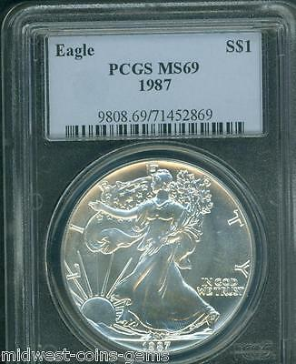 1987 American Silver Eagle ASE S$1 PCGS MS69 Premium Quality BEAUTIFUL