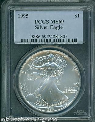 1995 American Silver Eagle ASE S$1 PCGS MS69 Premium Quality BEAUTIFUL