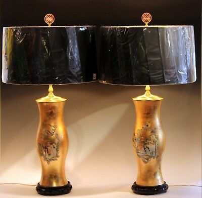 Pair Large Eglomise Chinoiserie Gilt Decalcomania Vintage Vase Lamps