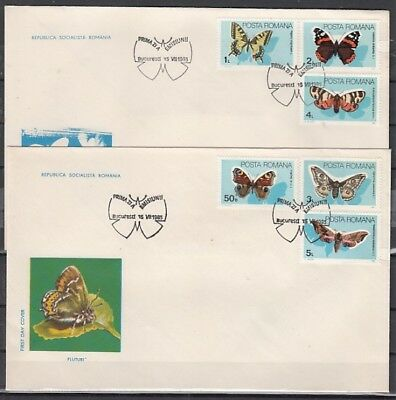 Romania, Scott cat. 3281-3286. Butterflies issue on 2 First day covers