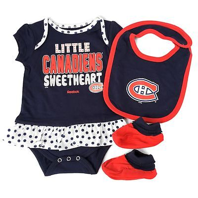 9b46d4f35 REEBOK MONTREAL CANADIEN BABY GIRL 3 PC.RUFFLED BODYSUIT BIB BOOTIES SET 18  mo