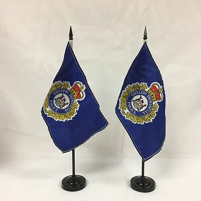 Lot of 2 Ontario Provincial Police Desk Flags