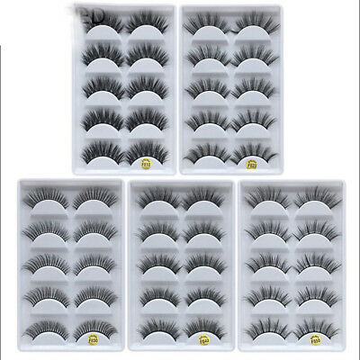5 Pairs 100% Real Mink 3D Volume Thick Daily False Eyelashes Strip Lashes NT