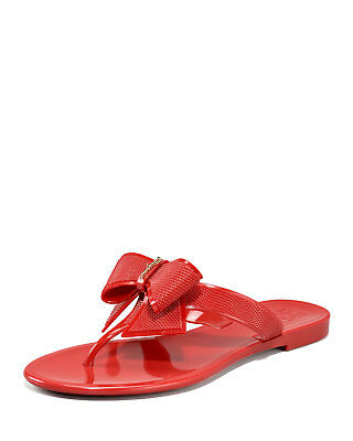 65212a4a162288 SALVATORE FERRAGAMO Red Bali Pansy Bow Jelly Flip Flop Sandals 10 US EUC  w BOX