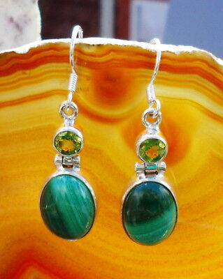 Earring Malachite Green Stone of the Aphrodite and Peridot Sterling Silver 925