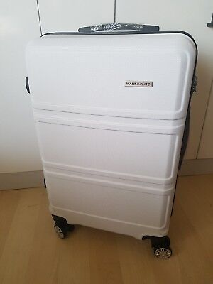 "Wanderlite 2pc Hard Case Luggage Suitcase Trolley Set TSA - White 20"" & 24"" NEW"
