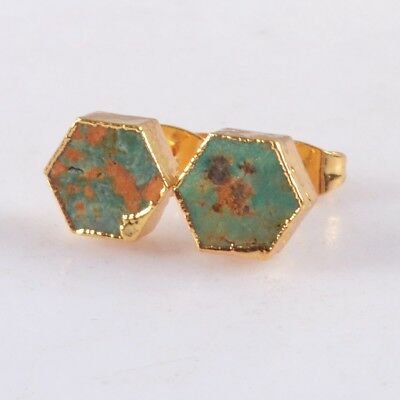 8mm Hexagon Natural Genuine Turquoise Stud Earrings Gold Plated T060601