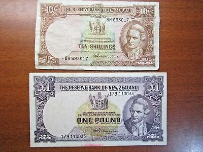 Ten Shilling & One Pound Fleming Banknotes New Zealand  1956 To 1967