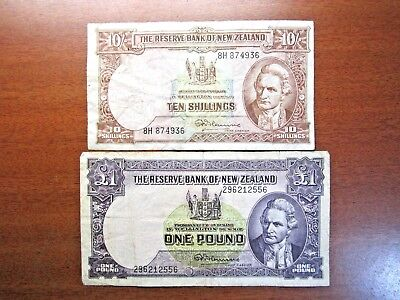 Ten Shilling & One Pound Fleming Banknotes 1956 To 1967 New Zealand