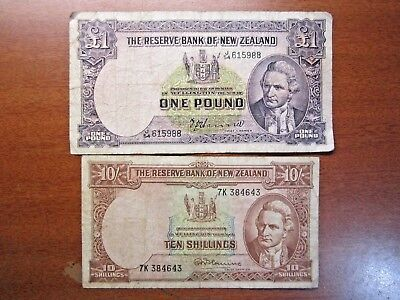 Ten Shilling & One Pound Fleming New Zealand Banknotes 1956 To 1967