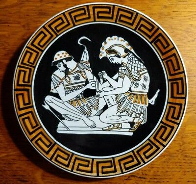 Ancient Greek Art Pottery Repro HAND MADE IN GREECE Wall Hanging Plate KEPAMEIKH