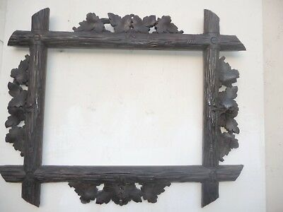 Antique Big & Massive Black Forest Carved Picture Frame Ivy Leaves