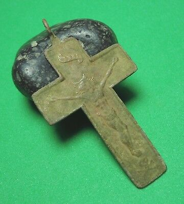 Ancient Bronze Cross Wearable Pendant Antique Rare C111