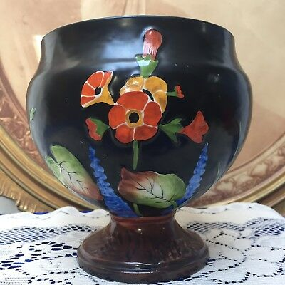 Rare Crown Ducal, Embossed/Hand Painted Hollyhocks, Art Deco Footed Vase c.1928