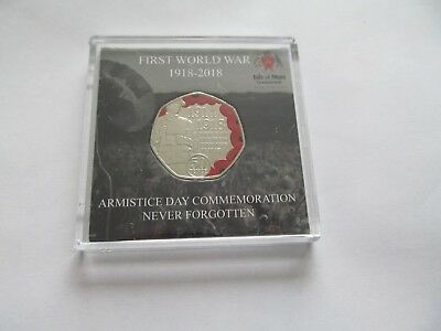 2018 ISLE OF MAN 50p Colour Armistice Day WW1 Remembrance Poppy Coin BUNC
