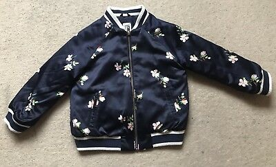 Baby Gap Navy Blue Floral Bomber Coat Jacket Age 4 Years
