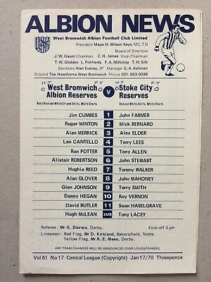 1969/70 West Bromwich Albion Reserves v Stoke City Reserves